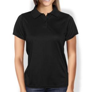 Женская рубашка-поло черная фото