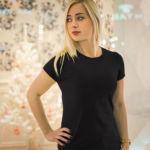 Женская футболка стрейч черная