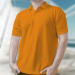 Мужская рубашка-поло оранжевая