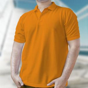 Мужская рубашка-поло оранжевая фото