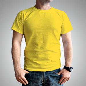 Мужская футболка хлопок желтая фото