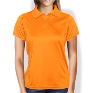 Женская рубашка-поло оранжевая фото