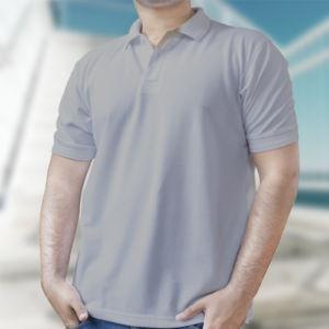 Мужская рубашка-поло серая фото