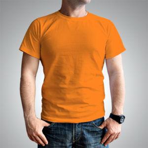 Мужская футболка хлопок оранжевая фото