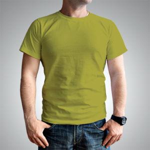 Мужская футболка хлопок оливковая фото