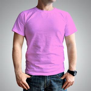 Мужская футболка хлопок розовый фото