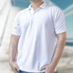 Мужская рубашка-поло белая