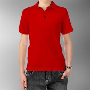 Детская рубашка-поло красная фото