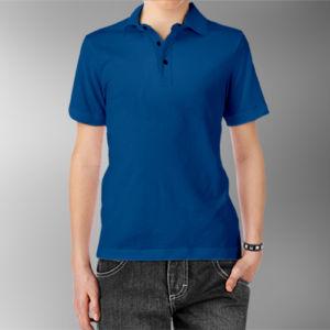 Детская рубашка-поло синяя фото