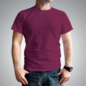 Мужская футболка хлопок бордовая фото