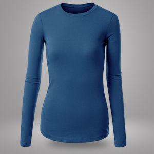 Женский лонгслив синий фото