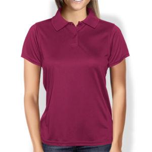 Женская рубашка-поло бордовая фото