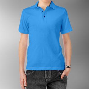 Детская рубашка-поло голубая фото