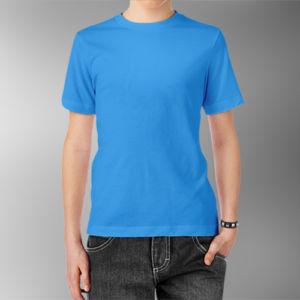 Детская футболка хлопок голубая фото