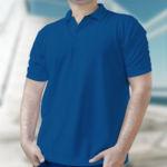 Мужская рубашка-поло синяя