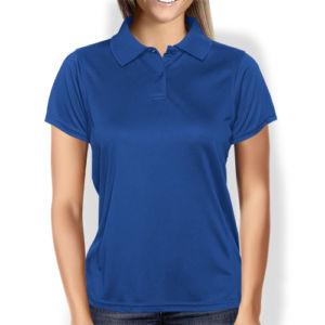 Женская рубашка-поло синяя фото