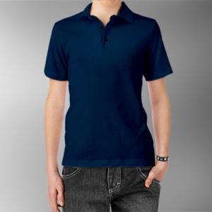 Детская рубашка-поло темно-синяя фото