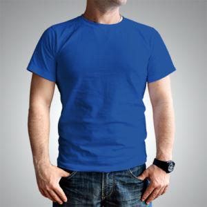Мужская футболка хлопок синяя фото