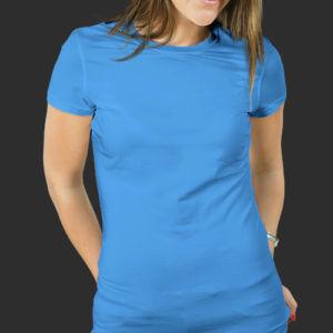 Женская футболка хлопок голубая фото