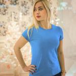 Женская футболка стрейч голубая