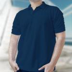 Мужская рубашка-поло темно-синяя