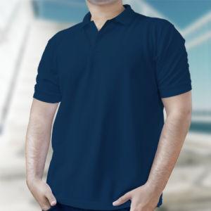 Мужская рубашка-поло темно-синяя фото