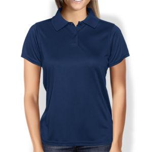 Женская рубашка-поло темно-синяя фото