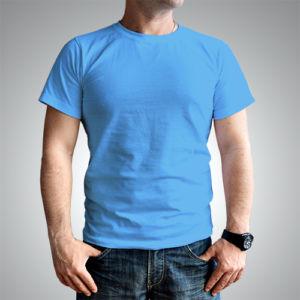 Мужская футболка хлопок голубая фото