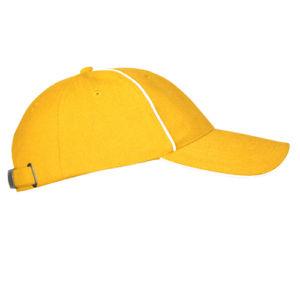 Бейсболка велюровая с оконтовкой желтая фото