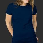 Женская футболка хлопок темно-синяя