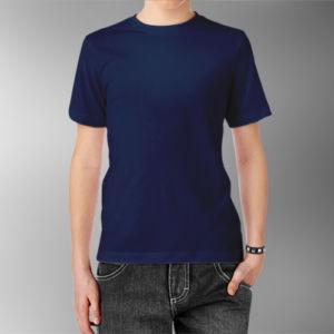 Детская футболка хлопок темно-синяя фото
