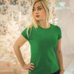 Женская футболка стрейч зеленая