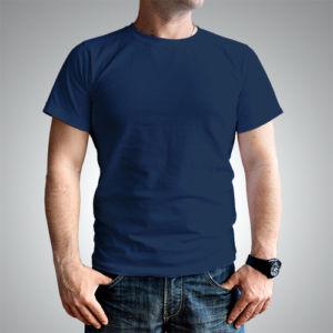 Мужская футболка хлопок темно-синяя фото