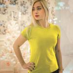 Женская футболка стрейч желтая