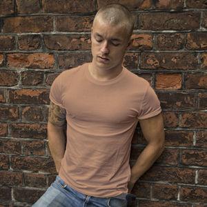 Мужская футболка стрейч бежевая фото