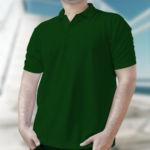Мужская рубашка-поло темно-зеленая