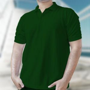 Мужская рубашка-поло темно-зеленая фото