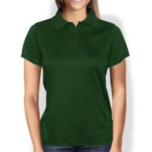 Женская рубашка-поло темно-зеленая фото
