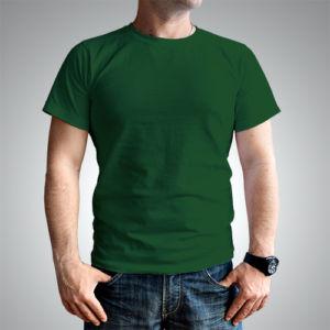 Мужская футболка хлопок темно-зеленая фото