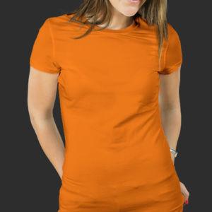 Женская футболка хлопок оранжевая фото