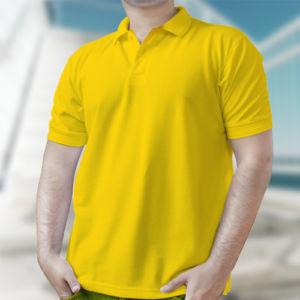 Мужская рубашка-поло желтая фото