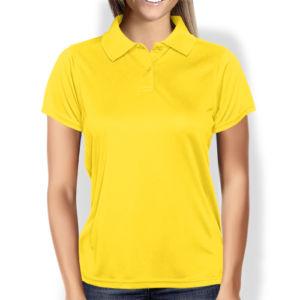Женская рубашка-поло желтая фото